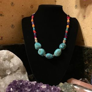 🌷NWT Turquoise/spiny oyster/coral & gem necklace